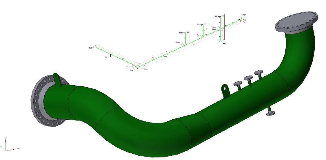 3D model en isometrie van piping