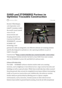 thumbnail of FARO and STORMBEE Partner to Optimize Traceable Construction –